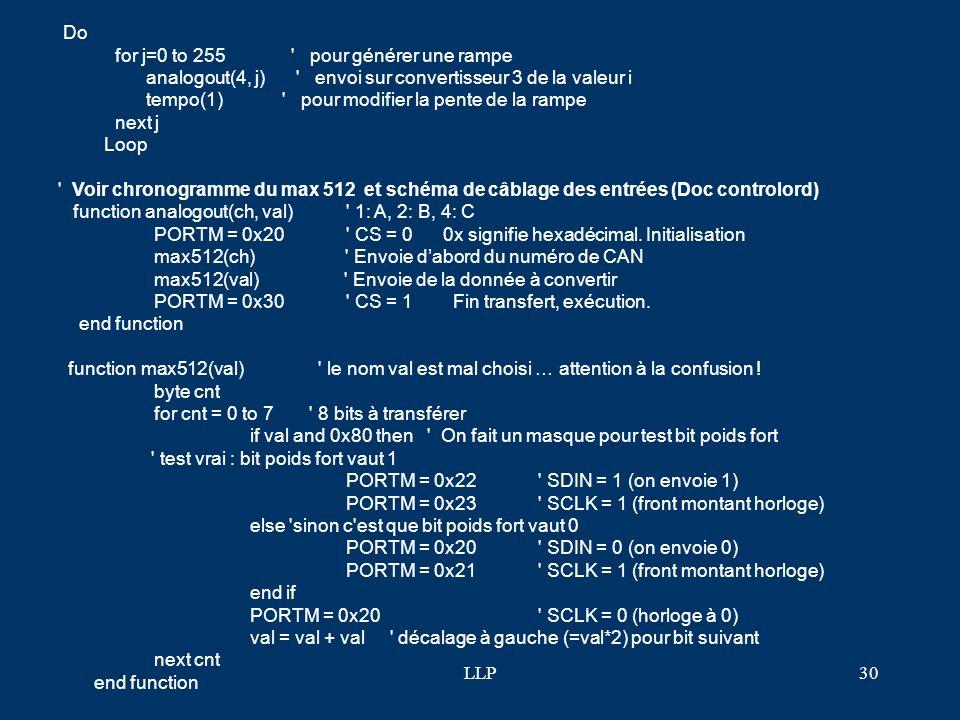 LLP29 Mise en œuvre du triple CNA 8bits (max512) de la carte cboyF1 Le Max512 dispose de 3 sorties analogiques. 3 lignes en entrées permettent de pilo