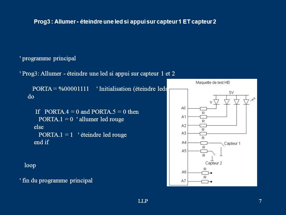 LLP6 F-prog2: Allumer - éteindre une led si appui sur capteur 1 ' programme principal ' Prog2 : Allumer - éteindre une led si appui sur capteur 1 PORT