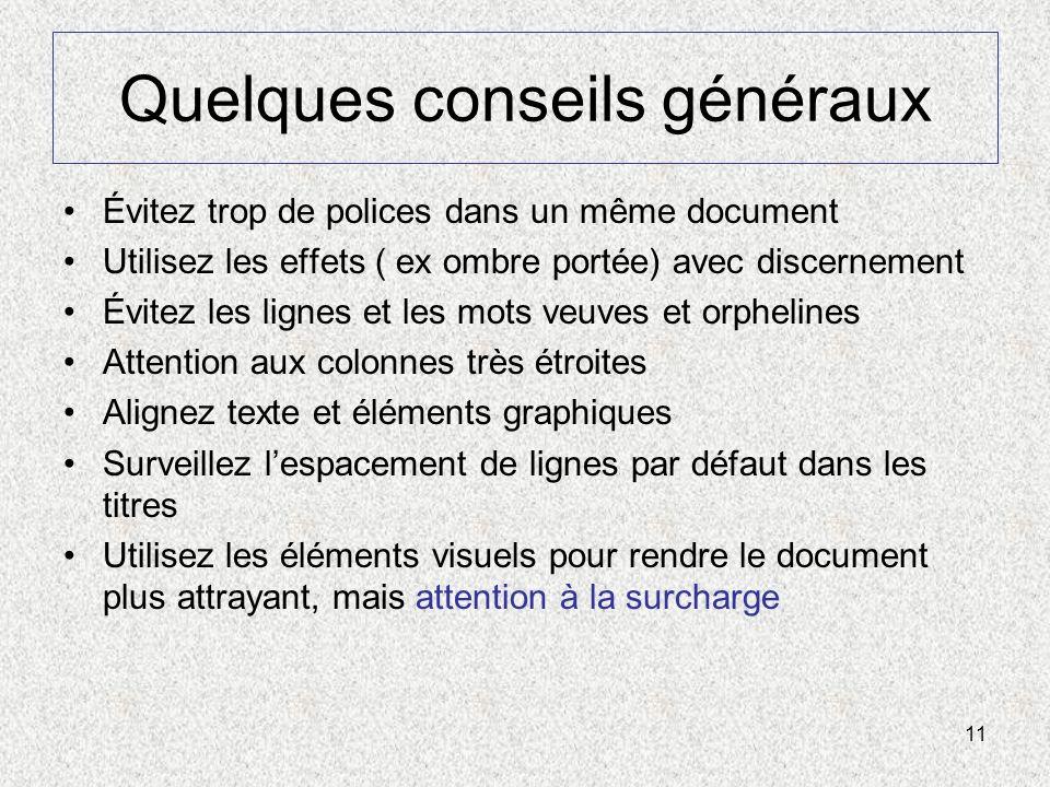 11 Quelques conseils généraux Évitez trop de polices dans un même document Utilisez les effets ( ex ombre portée) avec discernement Évitez les lignes
