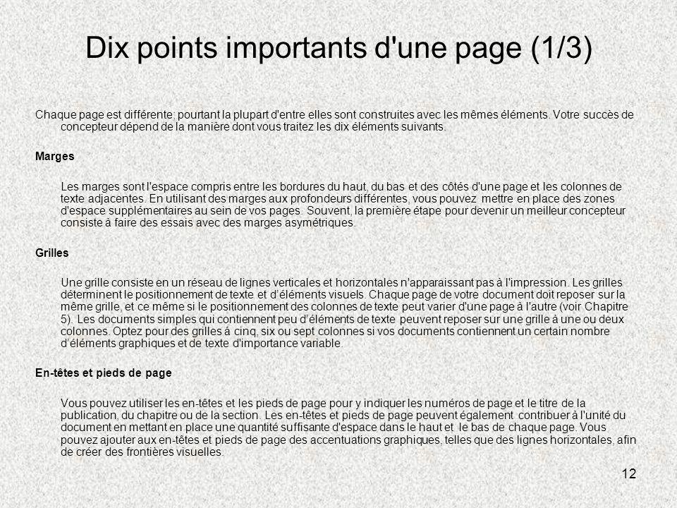 12 Dix points importants d'une page (1/3) Chaque page est différente; pourtant la plupart d'entre elles sont construites avec les mêmes éléments. Votr