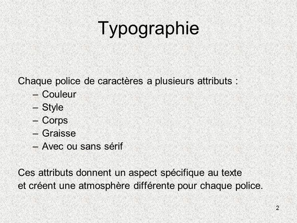 2 Typographie Chaque police de caractères a plusieurs attributs : –Couleur –Style –Corps –Graisse –Avec ou sans sérif Ces attributs donnent un aspect