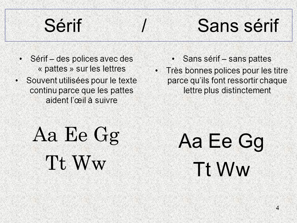 4 Sérif / Sans sérif Sérif – des polices avec des « pattes » sur les lettres Souvent utilisées pour le texte continu parce que les pattes aident lœil