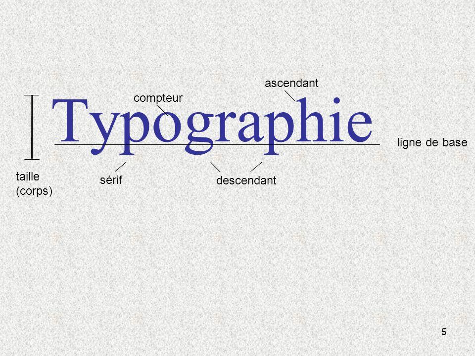 5 Typographie ligne de base descendant ascendant compteur sérif taille (corps)