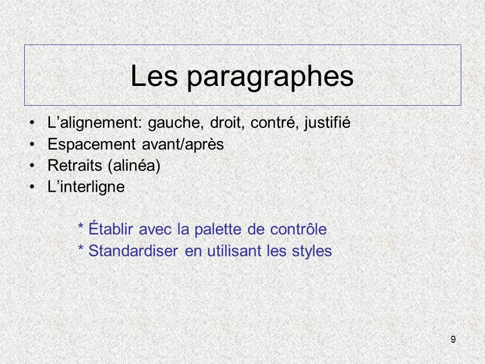 9 Les paragraphes Lalignement: gauche, droit, contré, justifié Espacement avant/après Retraits (alinéa) Linterligne * Établir avec la palette de contr