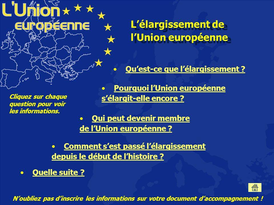 Lélargissement de lUnion européenne Quest-ce que lélargissement .