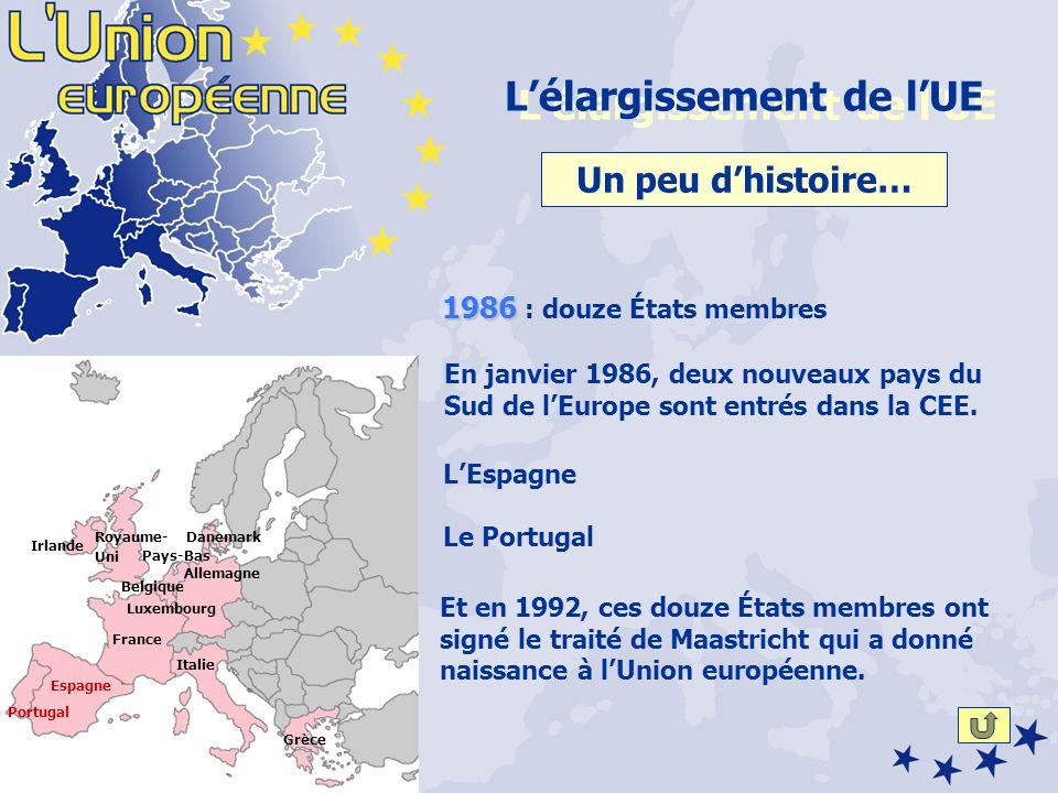Un peu dhistoire… En janvier 1986, deux nouveaux pays du Sud de lEurope sont entrés dans la CEE.