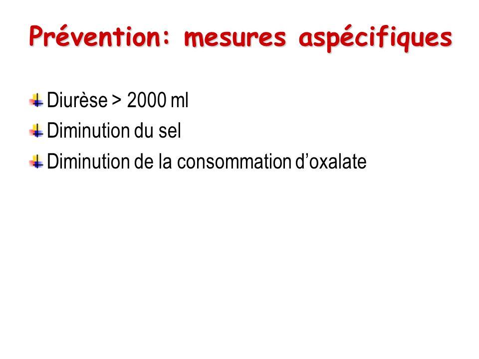 Prévention: oxalate de calcium Restriction de lapport de calcium.
