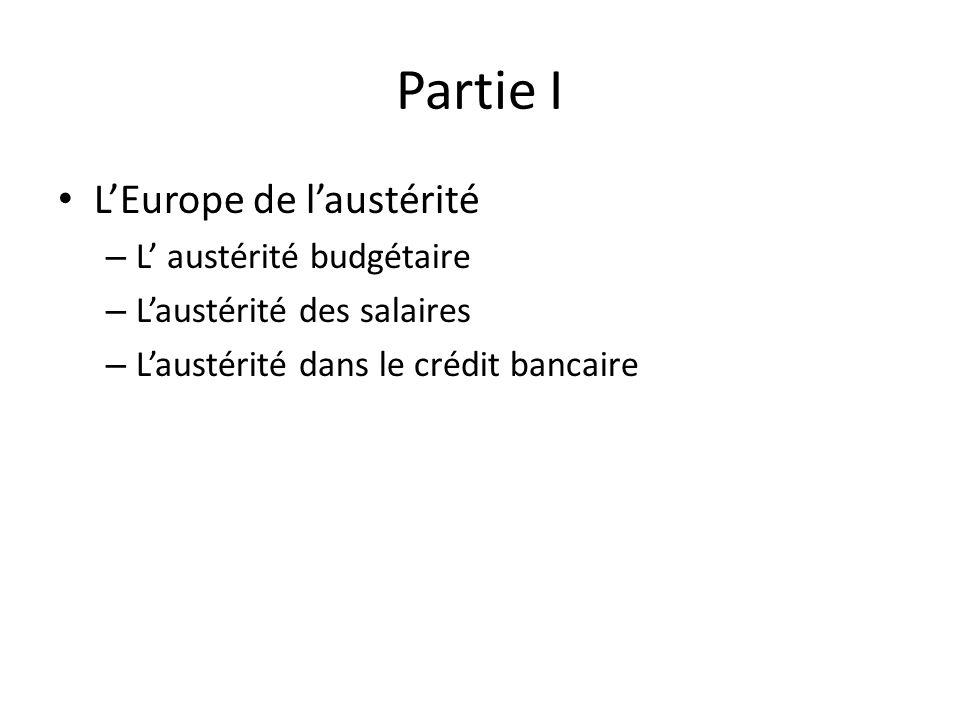Partie I LEurope de laustérité – L austérité budgétaire – Laustérité des salaires – Laustérité dans le crédit bancaire