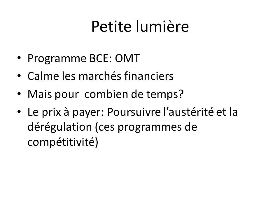 Petite lumière Programme BCE: OMT Calme les marchés financiers Mais pour combien de temps.
