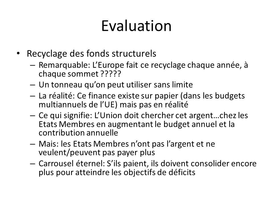 Evaluation Recyclage des fonds structurels – Remarquable: LEurope fait ce recyclage chaque année, à chaque sommet .