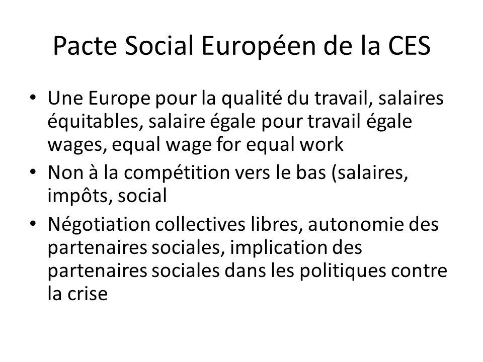 Pacte Social Européen de la CES Une Europe pour la qualité du travail, salaires équitables, salaire égale pour travail égale wages, equal wage for equal work Non à la compétition vers le bas (salaires, impôts, social Négotiation collectives libres, autonomie des partenaires sociales, implication des partenaires sociales dans les politiques contre la crise