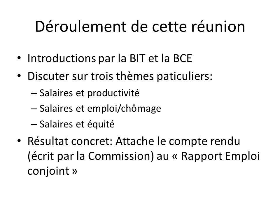 Déroulement de cette réunion Introductions par la BIT et la BCE Discuter sur trois thèmes paticuliers: – Salaires et productivité – Salaires et emploi/chômage – Salaires et équité Résultat concret: Attache le compte rendu (écrit par la Commission) au « Rapport Emploi conjoint »