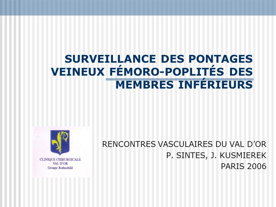 SURVEILLANCE DES PONTAGES VEINEUX FÉMORO-POPLITÉS DES MEMBRES INFÉRIEURS RENCONTRES VASCULAIRES DU VAL DOR P. SINTES, J. KUSMIEREK PARIS 2006