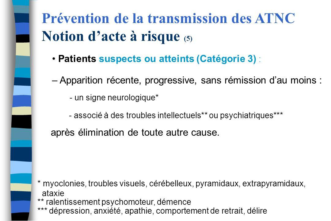 Patients suspects ou atteints (Catégorie 3) : – Apparition récente, progressive, sans rémission dau moins : - un signe neurologique* - associé à des t