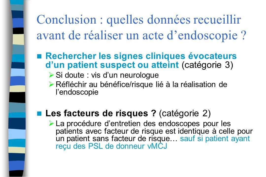 Conclusion : quelles données recueillir avant de réaliser un acte dendoscopie ? Rechercher les signes cliniques évocateurs dun patient suspect ou atte