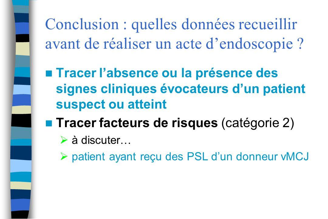 Conclusion : quelles données recueillir avant de réaliser un acte dendoscopie ? Tracer labsence ou la présence des signes cliniques évocateurs dun pat