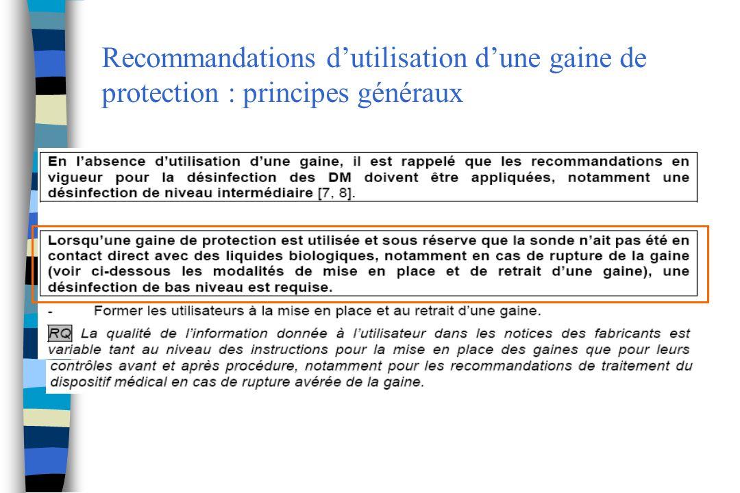 Recommandations dutilisation dune gaine de protection : principes généraux