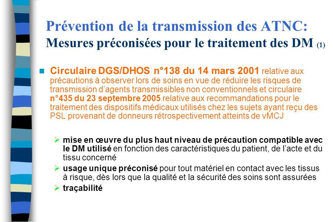 Prévention de la transmission des ATNC: Mesures préconisées pour le traitement des DM (1) Circulaire DGS/DHOS n°138 du 14 mars 2001 relative aux préca