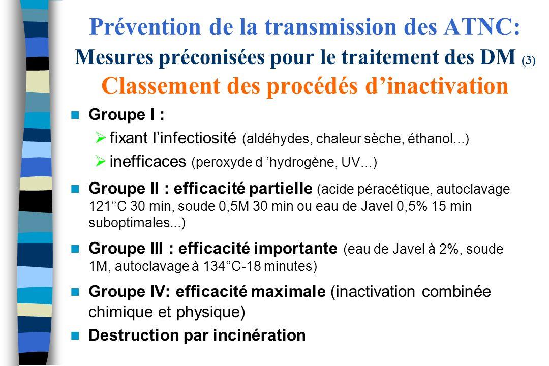 Prévention de la transmission des ATNC: Mesures préconisées pour le traitement des DM (3) Classement des procédés dinactivation Groupe I : fixant linf