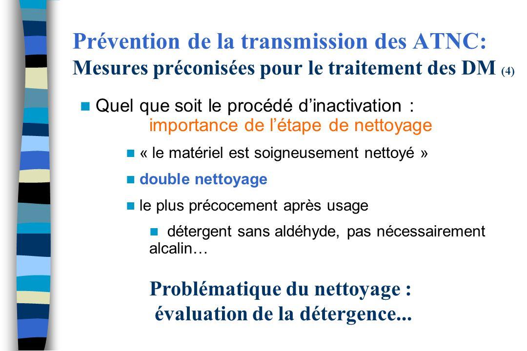 Prévention de la transmission des ATNC: Mesures préconisées pour le traitement des DM (4) Quel que soit le procédé dinactivation : importance de létap