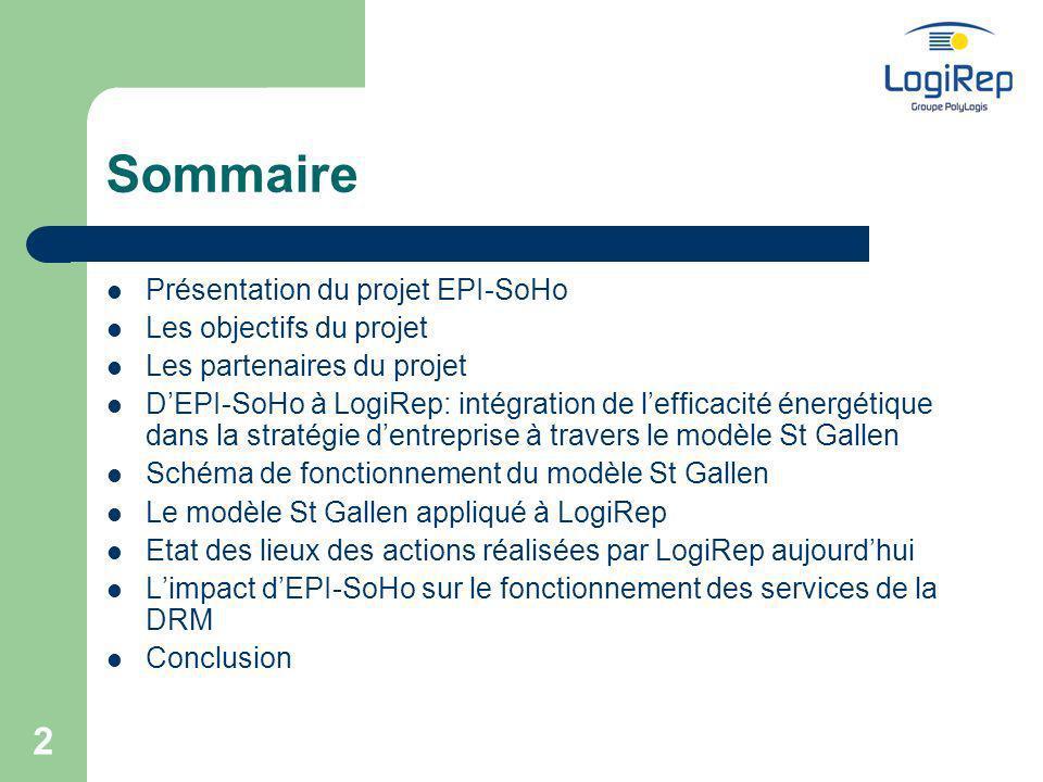 3 Présentation du projet EPI-SoHo EPI-SoHo: Energy Performance Intégration in Social Housing (intégration de la performance énergétique dans le logement social) Un projet sinscrivant dans le programme de la commission européenne « Énergie Intelligente pour lEurope » (EIE) Une approche stratégique pour la gestion du patrimoine Durée du projet: 3 ans (janvier 2006 - décembre 2008)