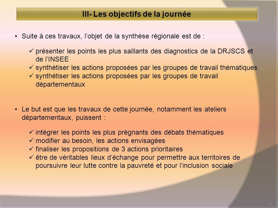 4 III- Les objectifs de la journée Suite à ces travaux, lobjet de la synthèse régionale est de : présenter les points les plus saillants des diagnosti