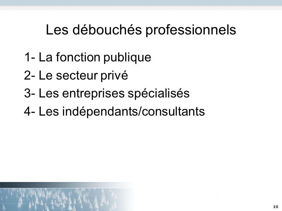 10 Les débouchés professionnels 1- La fonction publique 2- Le secteur privé 3- Les entreprises spécialisés 4- Les indépendants/consultants
