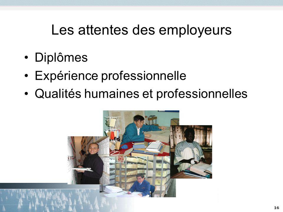 16 Les attentes des employeurs Diplômes Expérience professionnelle Qualités humaines et professionnelles