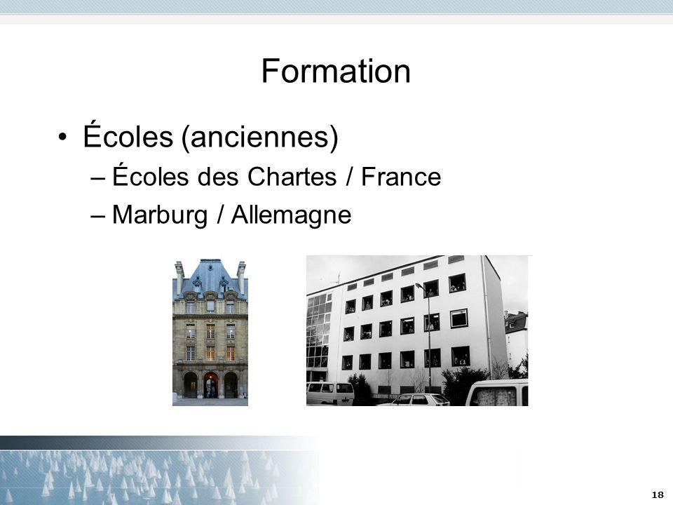 18 Formation Écoles (anciennes) –Écoles des Chartes / France –Marburg / Allemagne