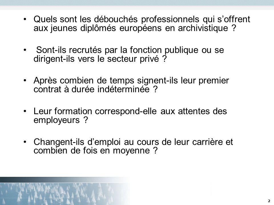 2 Quels sont les débouchés professionnels qui soffrent aux jeunes diplômés européens en archivistique ? Sont-ils recrutés par la fonction publique ou