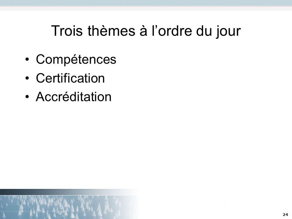 24 Trois thèmes à lordre du jour Compétences Certification Accréditation