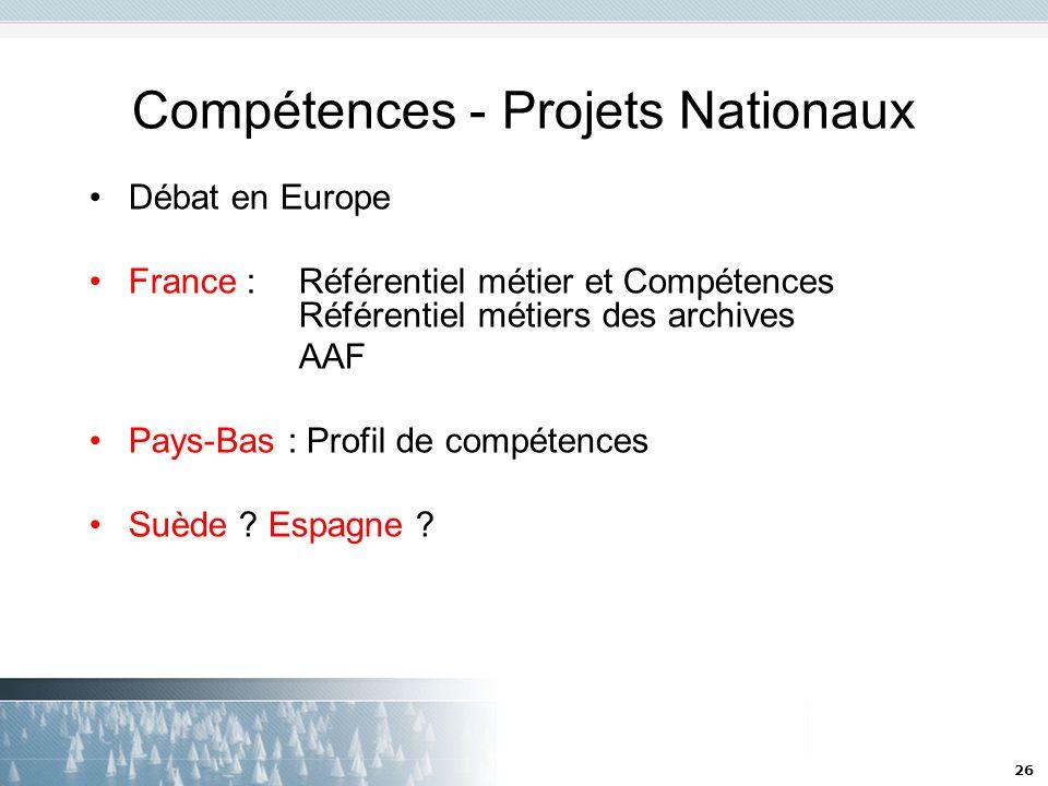 26 Compétences - Projets Nationaux Débat en Europe France : Référentiel métier et Compétences Référentiel métiers des archives AAF Pays-Bas : Profil d
