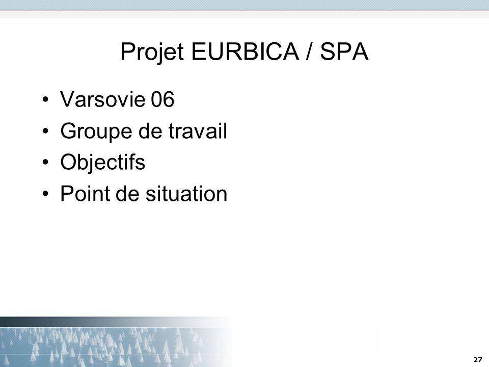 27 Projet EURBICA / SPA Varsovie 06 Groupe de travail Objectifs Point de situation