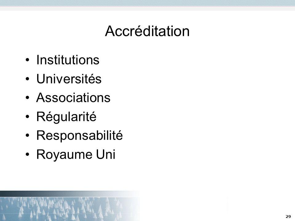 29 Accréditation Institutions Universités Associations Régularité Responsabilité Royaume Uni