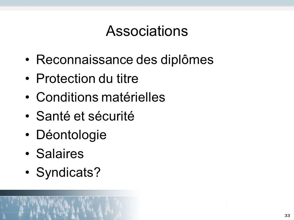 33 Associations Reconnaissance des diplômes Protection du titre Conditions matérielles Santé et sécurité Déontologie Salaires Syndicats?