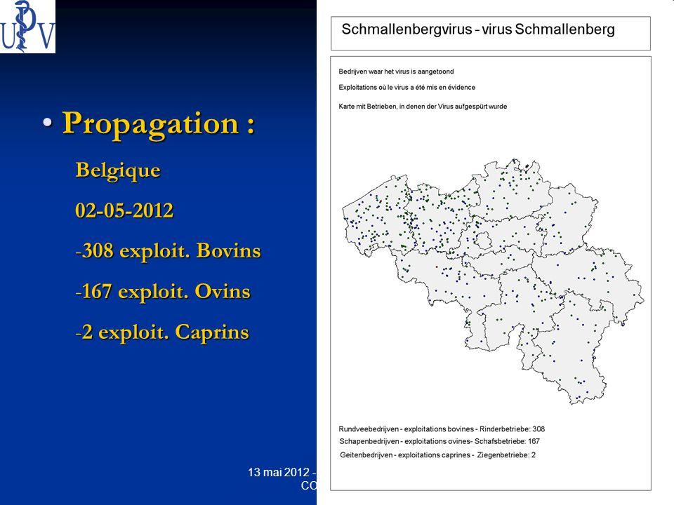 10 13 mai 2012 - Bernard GAUTHIER - COUVIVET.be Propagation : Propagation :Belgique02-05-2012 -308 exploit. Bovins -167 exploit. Ovins -2 exploit. Cap