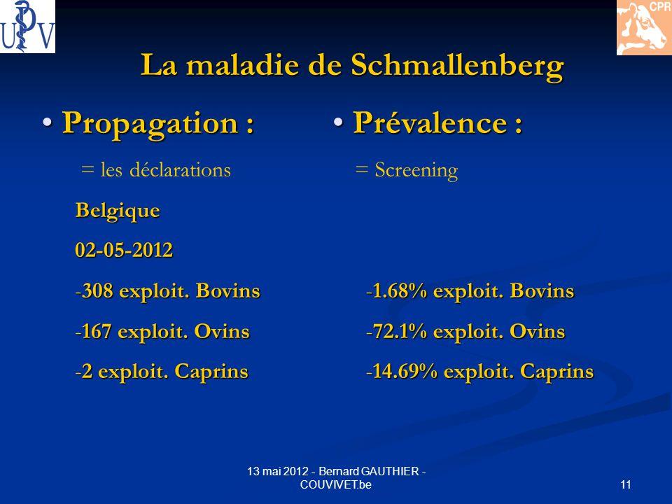 11 13 mai 2012 - Bernard GAUTHIER - COUVIVET.be Propagation : Propagation : = les déclarationsBelgique02-05-2012 -308 exploit. Bovins -167 exploit. Ov