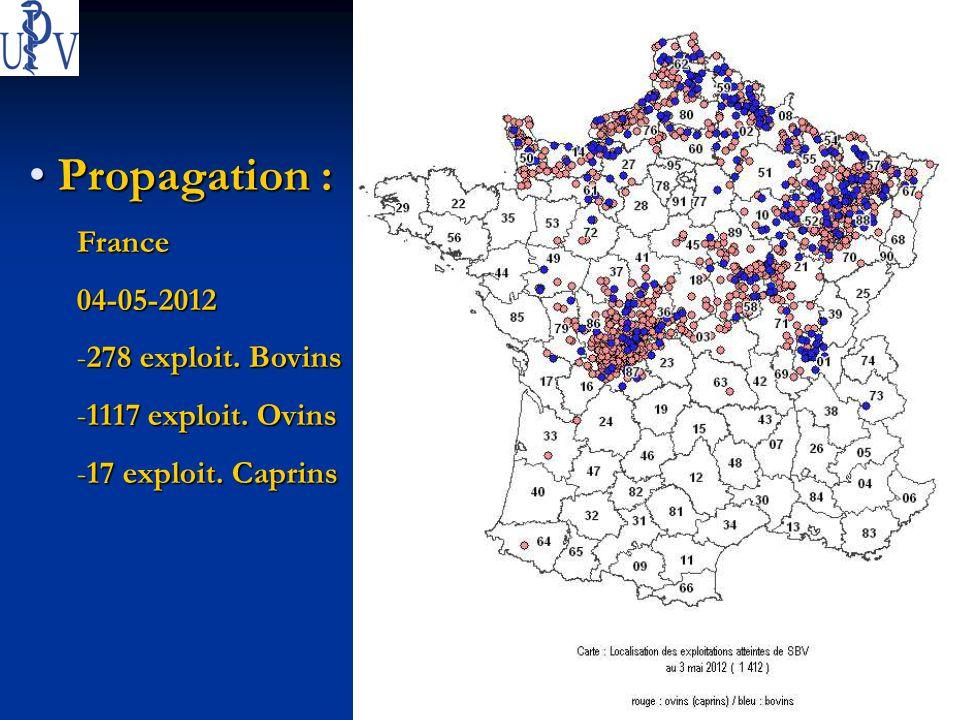 13 13 mai 2012 - Bernard GAUTHIER - COUVIVET.be Propagation : Propagation :France04-05-2012 -278 exploit. Bovins -1117 exploit. Ovins -17 exploit. Cap