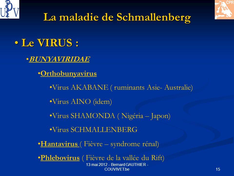 15 13 mai 2012 - Bernard GAUTHIER - COUVIVET.be La maladie de Schmallenberg Le VIRUS : Le VIRUS : BUNYAVIRIDAE Orthobunyavirus Virus AKABANE ( ruminan