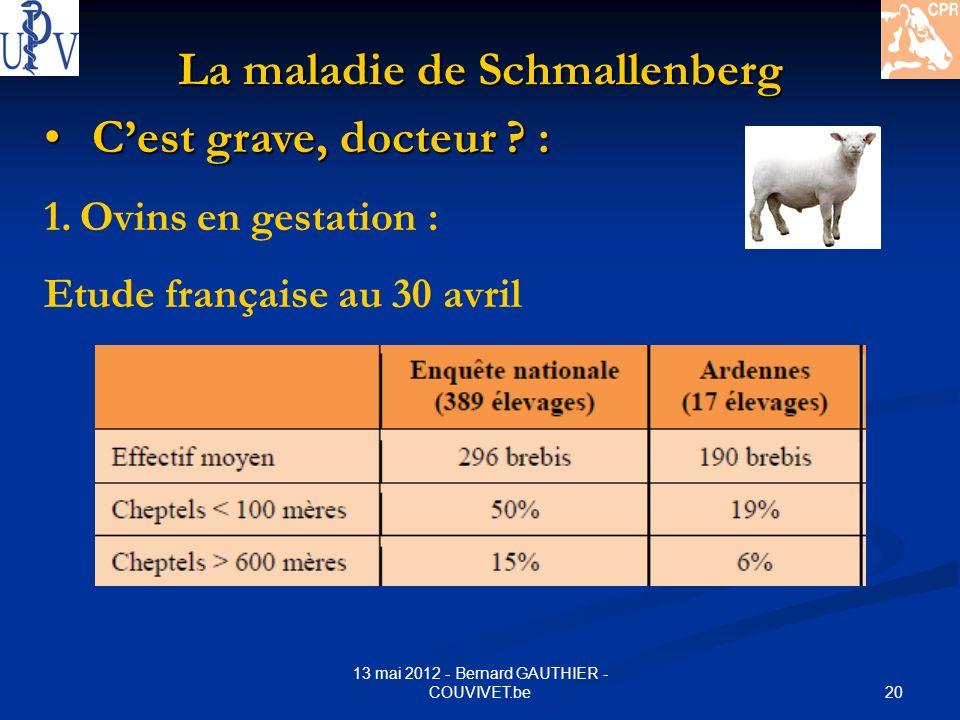20 13 mai 2012 - Bernard GAUTHIER - COUVIVET.be La maladie de Schmallenberg Cest grave, docteur ? : Cest grave, docteur ? : 1.Ovins en gestation : Etu