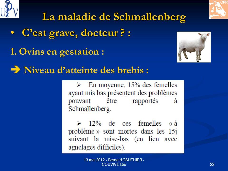 22 13 mai 2012 - Bernard GAUTHIER - COUVIVET.be La maladie de Schmallenberg Cest grave, docteur ? : Cest grave, docteur ? : 1.Ovins en gestation : Niv