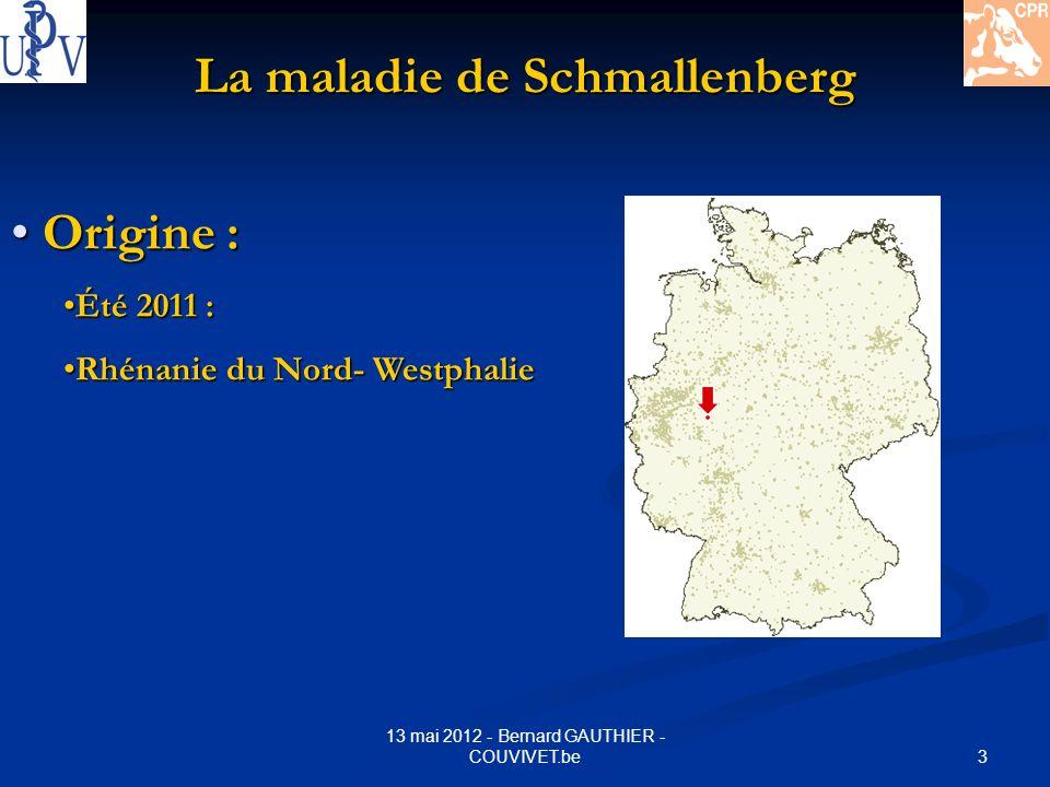 3 13 mai 2012 - Bernard GAUTHIER - COUVIVET.be La maladie de Schmallenberg Origine : Origine : Été 2011 :Été 2011 : Rhénanie du Nord- WestphalieRhénan