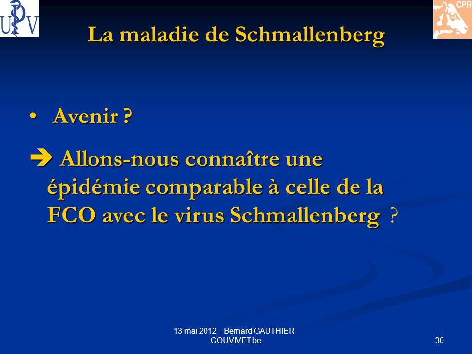 30 13 mai 2012 - Bernard GAUTHIER - COUVIVET.be La maladie de Schmallenberg Avenir ? Avenir ? Allons-nous connaître une épidémie comparable à celle de