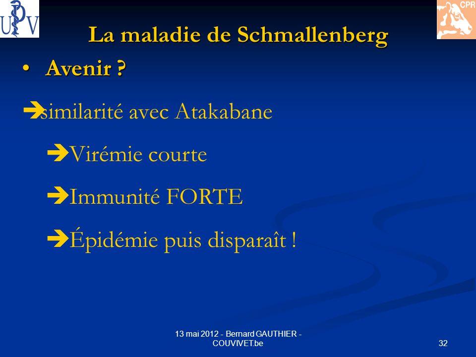 32 13 mai 2012 - Bernard GAUTHIER - COUVIVET.be La maladie de Schmallenberg Avenir ? Avenir ? similarité avec Atakabane Virémie courte Immunité FORTE