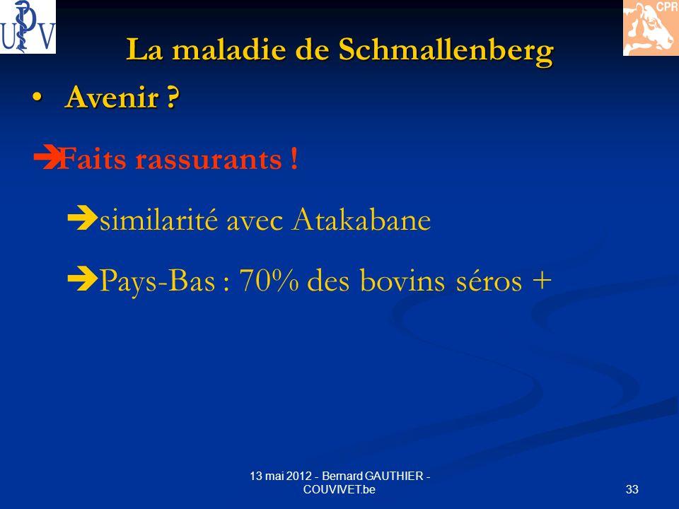 33 13 mai 2012 - Bernard GAUTHIER - COUVIVET.be La maladie de Schmallenberg Avenir ? Avenir ? Faits rassurants ! similarité avec Atakabane Pays-Bas :
