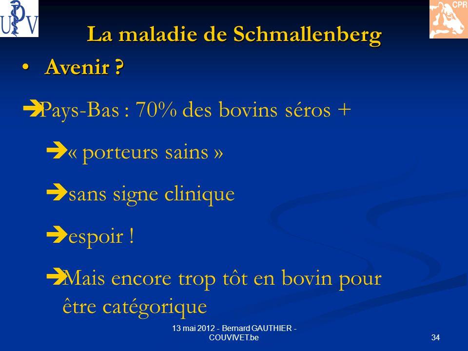 34 13 mai 2012 - Bernard GAUTHIER - COUVIVET.be La maladie de Schmallenberg Avenir ? Avenir ? Pays-Bas : 70% des bovins séros + « porteurs sains » san