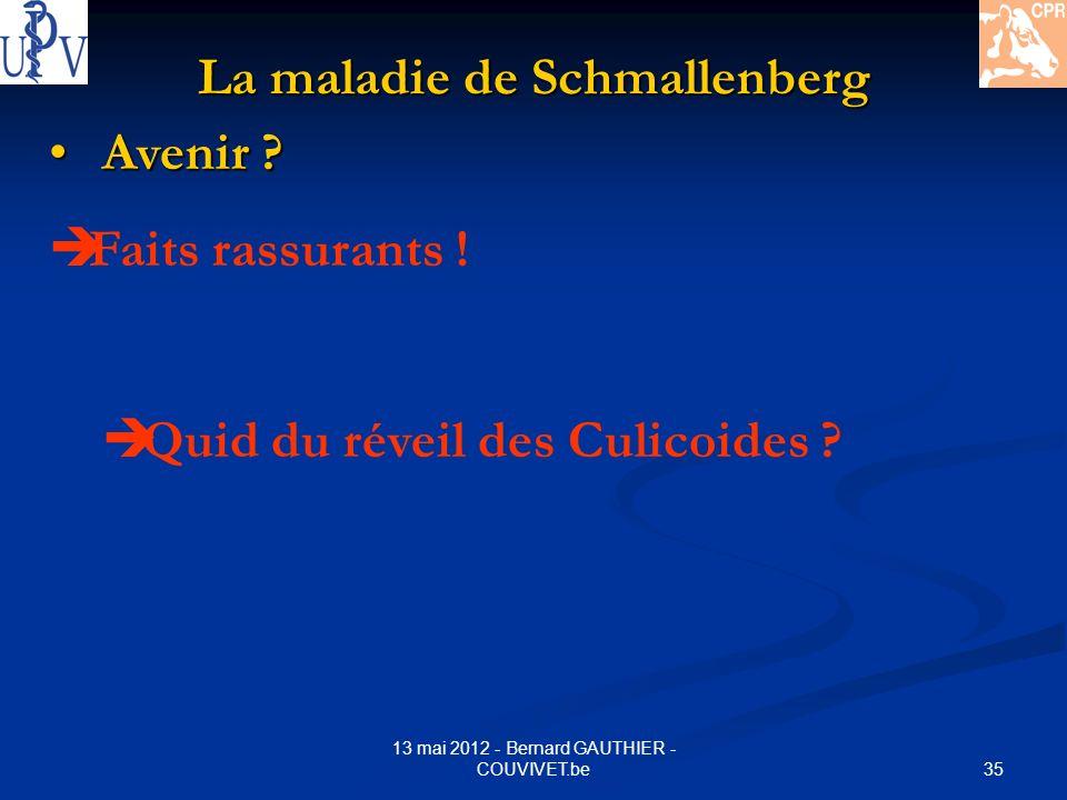 35 13 mai 2012 - Bernard GAUTHIER - COUVIVET.be La maladie de Schmallenberg Avenir ? Avenir ? Faits rassurants ! Quid du réveil des Culicoides ?