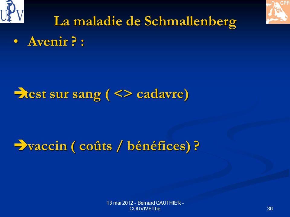 36 13 mai 2012 - Bernard GAUTHIER - COUVIVET.be La maladie de Schmallenberg Avenir ? : Avenir ? : test sur sang ( <> cadavre) test sur sang ( <> cadav