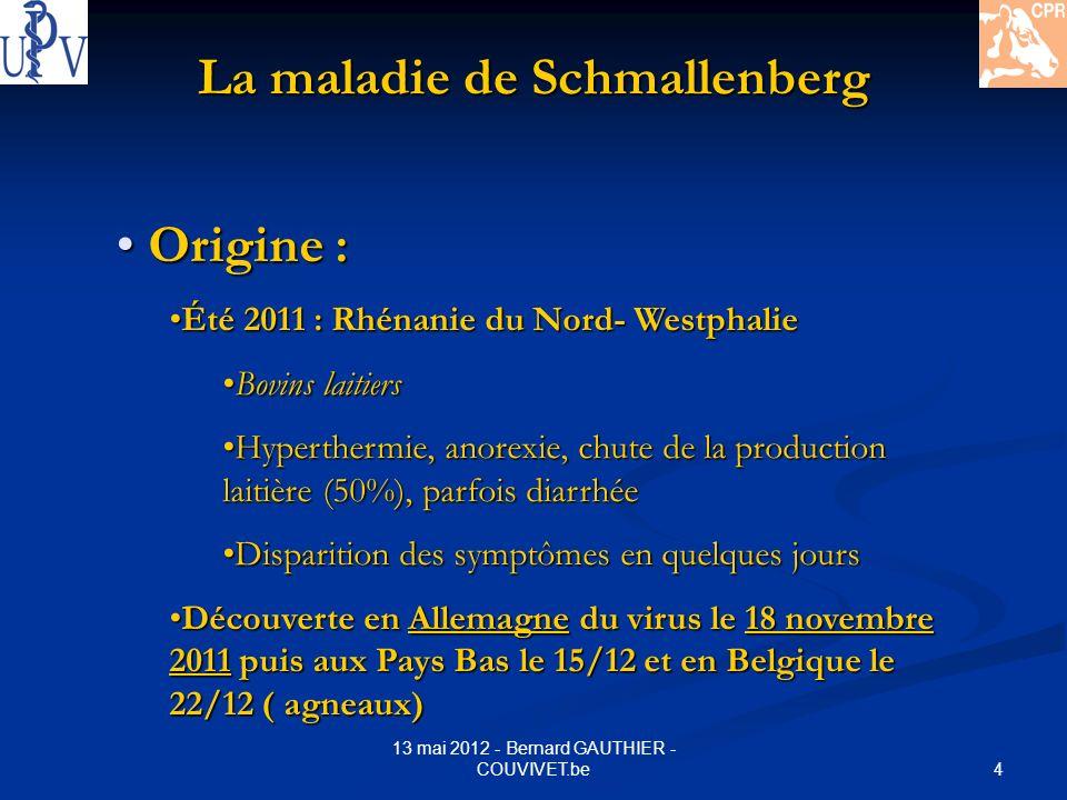 15 13 mai 2012 - Bernard GAUTHIER - COUVIVET.be La maladie de Schmallenberg Le VIRUS : Le VIRUS : BUNYAVIRIDAE Orthobunyavirus Virus AKABANE ( ruminants Asie- Australie) Virus AINO (idem) Virus SHAMONDA ( Nigéria – Japon) Virus SCHMALLENBERG Hantavirus ( Fièvre – syndrome rénal) Phlebovirus ( Fièvre de la vallée du Rift)