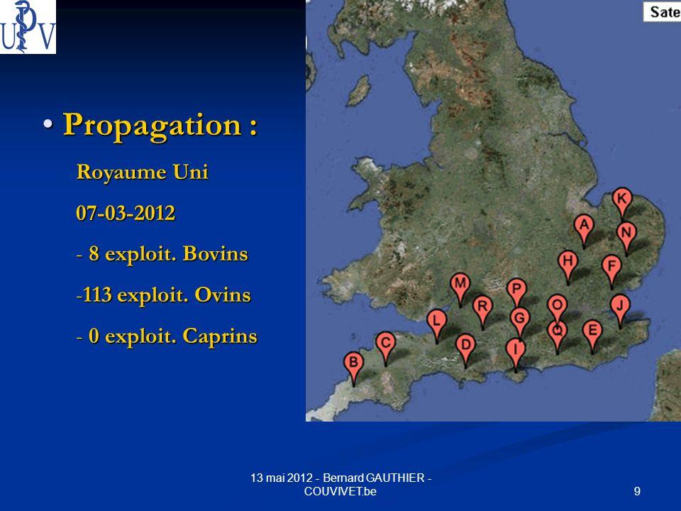 9 13 mai 2012 - Bernard GAUTHIER - COUVIVET.be Propagation : Propagation : Royaume Uni 07-03-2012 - 8 exploit. Bovins -113 exploit. Ovins - 0 exploit.